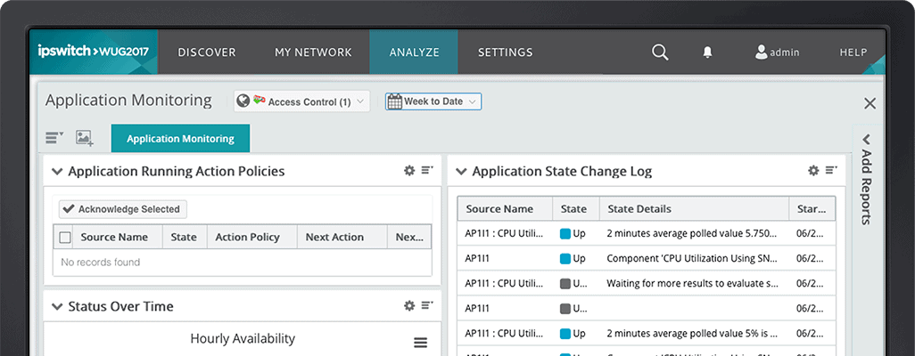 Application monitoring screenshot