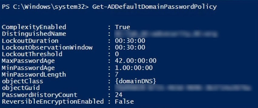 Get-ADDefaultDomainPasswordPolicy