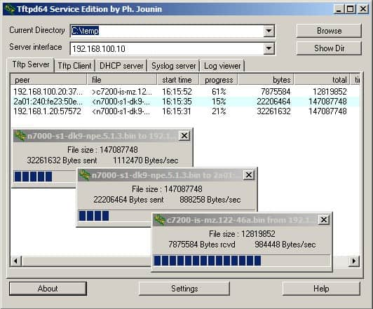 Tftpd32 syslog screenshot