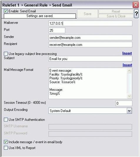 WinSyslog Email Alert Configuration